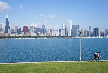 Chicago skyline from the Planetarium, Lake Michigan, Illinois, United States of America, North America