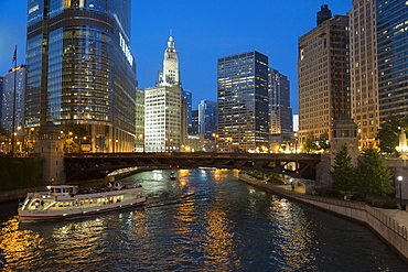 Along the Chicago River at dusk, Downtown Chicago, Illinois, United States of America, North America