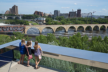 View from the endless bridge, Guthrie bridge, Minneapolis, Minnesota, United States of America, North America