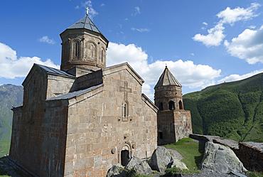 Tsminda Sameba church, Kasbegi, Georgia, Central Asia, Asia