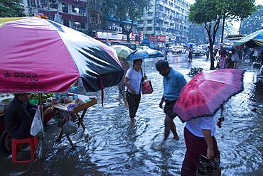 Heavy rain in the streets of Yangon (Rangoon), Myanmar (Burma), Asia