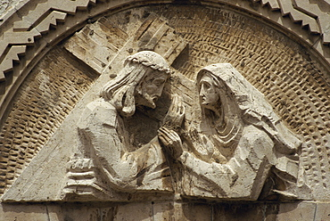 Sculpture at the 4th Station of the Cross on the Via Dolorosa, in the Old City of Jerusalem, Israel, Middle East