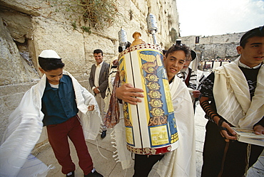 Jewish Bar Mitzvah ceremony at the Western Wall (Wailing Wall), Jerusalem, Israel, Middle East