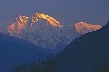 Sunset, Nanga Parbat mountain, Karakoram (Karakorum) mountains, Pakistan, Asia