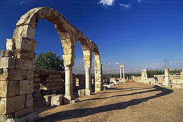 Main street with arcades and tetrastyle, Umayyad Anjar, UNESCO World Heritage Site, Lebanon, Middle East