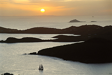 Sunset over inlet to Charlotte, Amalie, St. Thomas, US Virgin Islands, West Indies, Caribbean, Central America