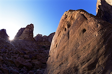 Nabatean inscription, Wadi Rum, Jordan, Middle East