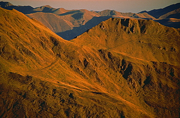 Early morning light on mountains on the French side of the Pyrenees, France, Europe