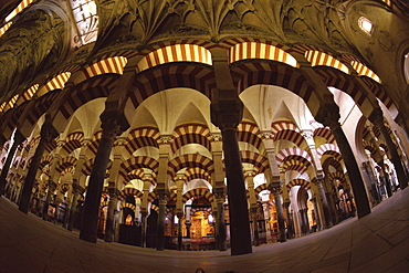 Interior of the Great Mosque (Mezquita), UNESCO World Heritage Site, houses a later Christian church inside, Cordoba, Andalucia (Andalusia), Spain, Europe