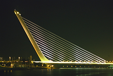 Alamillo Bridge, built for Expo 92, Seville, Andalucia, Spain, Europe