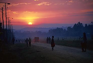Sunset over village street, Mizanteferi, Ethiopia, Africa