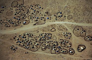 Aerial view of refugee camps, Darwanaji, Ethiopia, Africa