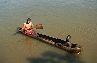 Dugout canoe used as ferry, Bonga River, Ethiopia, Africa