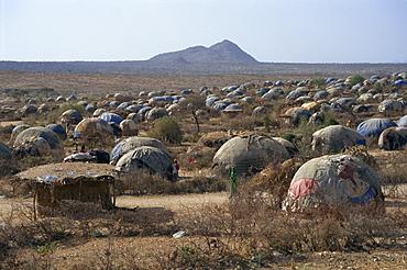 Hundreds of makeshift homes, Darwanaji Refugee Camp, Ethiopia, Africa