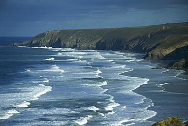 Tin mining chimneys and ocean surf, Porthtowan, Cornwall, England, United Kingdom, Europe