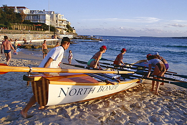Traditional row boat training for lifesaving, Bondi Beach, New South Wales (N.S.W.), Australia, Pacific