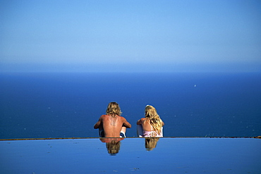 Couple meditating, Garden of Peace, Stanwell Park, New South Wales, Australia, Pacific
