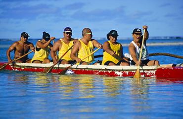 Traditional sea canoe races, Rarotonga, Cook Islands, Polynesia, South Pacific islands, Pacific