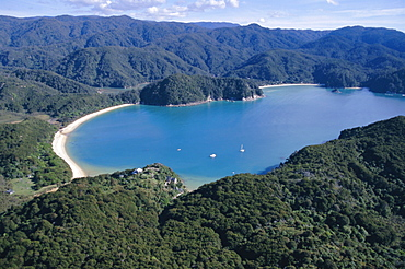 Aerial view of Golden Bay, Takaka, Abel Tasman National Park, Nelson, South Island, New Zealand, Pacific