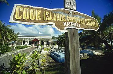 Church and graveyard, Matavera, Rarotonga, Cook Islands, Pacific Islands, Pacific