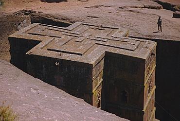 St. Giorgis (St. George's) rock hewn church, Lalibela, Ethiopia, Africa