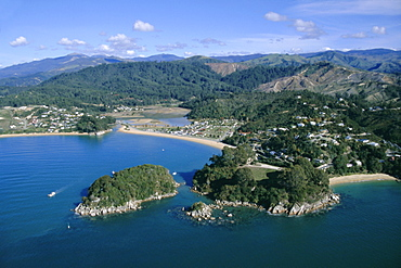 Aerial view of Separation Point near Golden Bay, Abel Tasman National Park, Nelson, South Island, New Zealand, Pacific