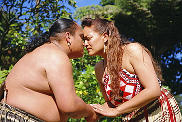 Traditional Maori greeting of rubbing noses, Rotorua, North Island, New Zealand, Pacific