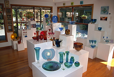 Shop displaying colourful glass products, Nelson, South Island, New Zealand, Pacific