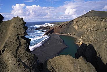 Green pool, lava mountains, El Golfo, Lanzarote, Canary Islands, Spain, Atlantic, Europe