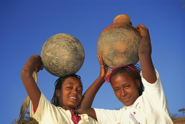 Daily task for women collecting water, Ethiopia, Africa