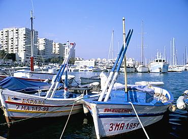 Fishing boats in the marina, Estepona, Malaga, Costa del Sol, Andalucia (Andalusia), Spain, Europe