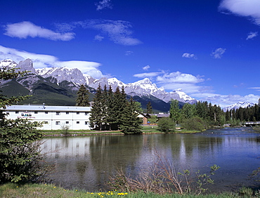 Policeman's Creek from Main Street in downtown Canmore, Bow Valley area, Rocky Mountains, Alberta, Canada, North America