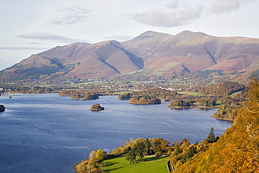 View across Derwent Water to Keswick and Skiddaw from Watendlath road in autumn, Borrowdale, Lake District National Park, Cumbria, England, United Kingdom, Europe