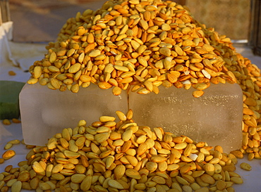 Almonds cooled on blocks of ice, Marmaris, Anatolia, Turkey, Asia Minor, Eurasia