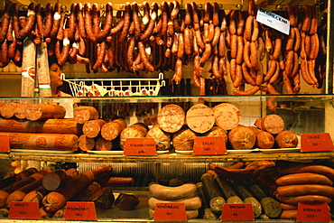 Many varieties of sausages for sale in the market, Budapest, Hungary, Europe