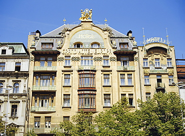 The Art Nouveau facade of the Grand Hotel d'Europe, Wenceslas Square, Prague, Czech Republic, Europe