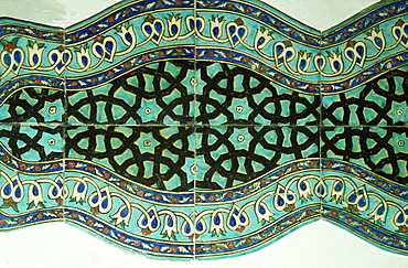 Ancient tiles in Karatay Medrese, Museum of Ceramic Art, Konya, Anatolia, Turkey, Asia Minor, Eurasia