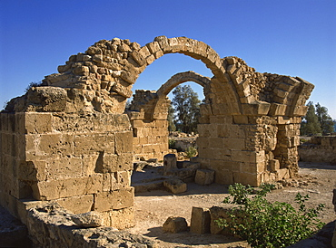 Byzantine castle dating from the 2nd century AD, destroyed in an earthquake, Kato Paphos, Cyprus, Europe