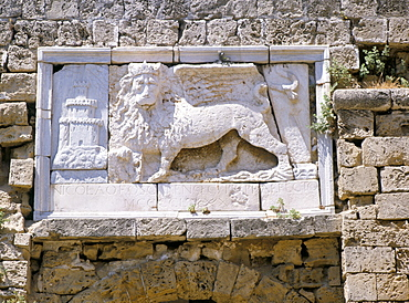 Carved winged lion of St. Mark above gate of the citadel, Famagusta, north of the island, Cyprus, Europe