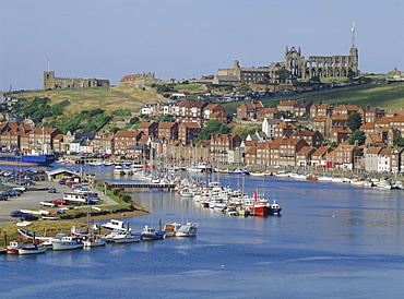 Harbour, abbey and St. Mary's church, Whitby, Yorkshire, England, UK, Europe