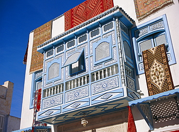 Typical decorative window in a carpet shop in the medina, Kairouan, Tunisia