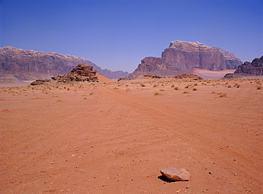 Arid landscape, Wadi Rum, Jordan, Middle East