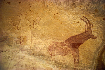 Huge painting of god figure and sable antelope on rock wall, Tassili Plateau, Algeria, North Africa, Africa - 6-2163
