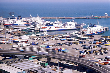 Ferry terminal at Dover harbour, Kent, England, United Kingdom, Europe