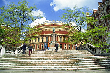 Steps and memorial before the Royal Albert Hall, built in 1871 and named after Prince Albert, Queen Victoria's consort, Kensington, London, England, United Kingdom, Europe