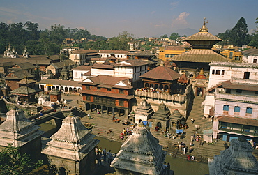 View over the Pashupatinath Temple in the city, Kathmandu, Nepal, Asia