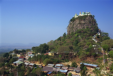 The Temple of Mount Popa, the core of an extinct volcano and abode of Myanmar's most powerful nats (gods), Mount Popa, Myanmar (Burma), Asia
