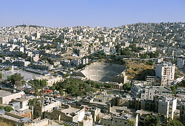 View of Roman Theatre from the Citadel columns, Amman, Jordan, Middle East
