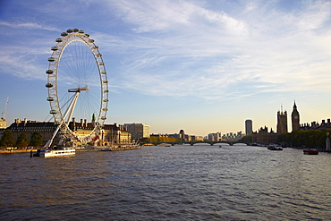 The London Eye, Southbank, River Thames and Houses of Parliament, London, England, United Kingdom, Europe