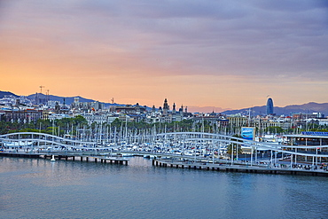 Barcelona Marina at sunset, Barcelona, Catalonia, Spain, Europe